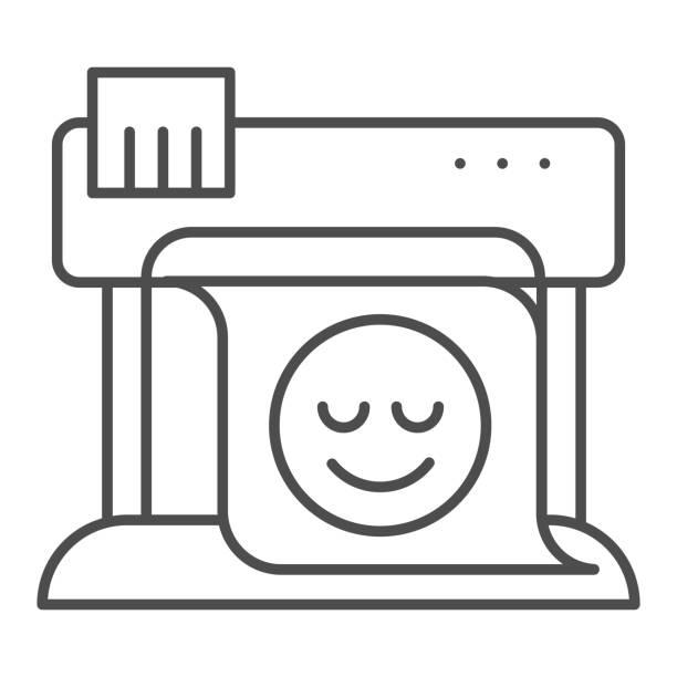 stockillustraties, clipart, cartoons en iconen met pictogram van de plotter dunne lijn. groot formaat printer vector illustratie geïsoleerd op wit. print machine overzichts stijl ontwerp, ontworpen voor web en app. eps 10. - breed
