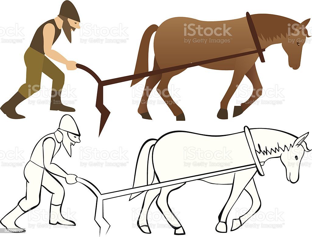 Plowman and horse with plow royalty-free stock vector art
