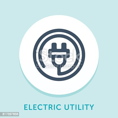 Curved Style Line Vector Icon for Electric Utility.