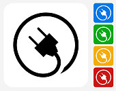 Plug Icon. This 100% royalty free vector illustration features the main icon pictured in black inside a white square. The alternative color options in blue, green, yellow and red are on the right of the icon and are arranged in a vertical column.