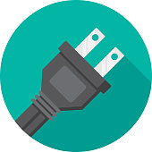 Vector illustration of a plug against a teal background in flat style.