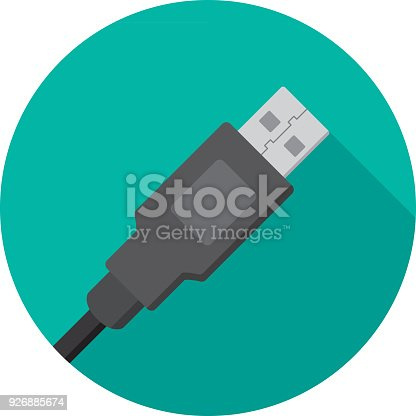 istock USB Plug Icon Flat 926885674