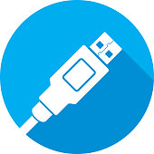 Vector illustration of a blue USB plug icon in flat style.