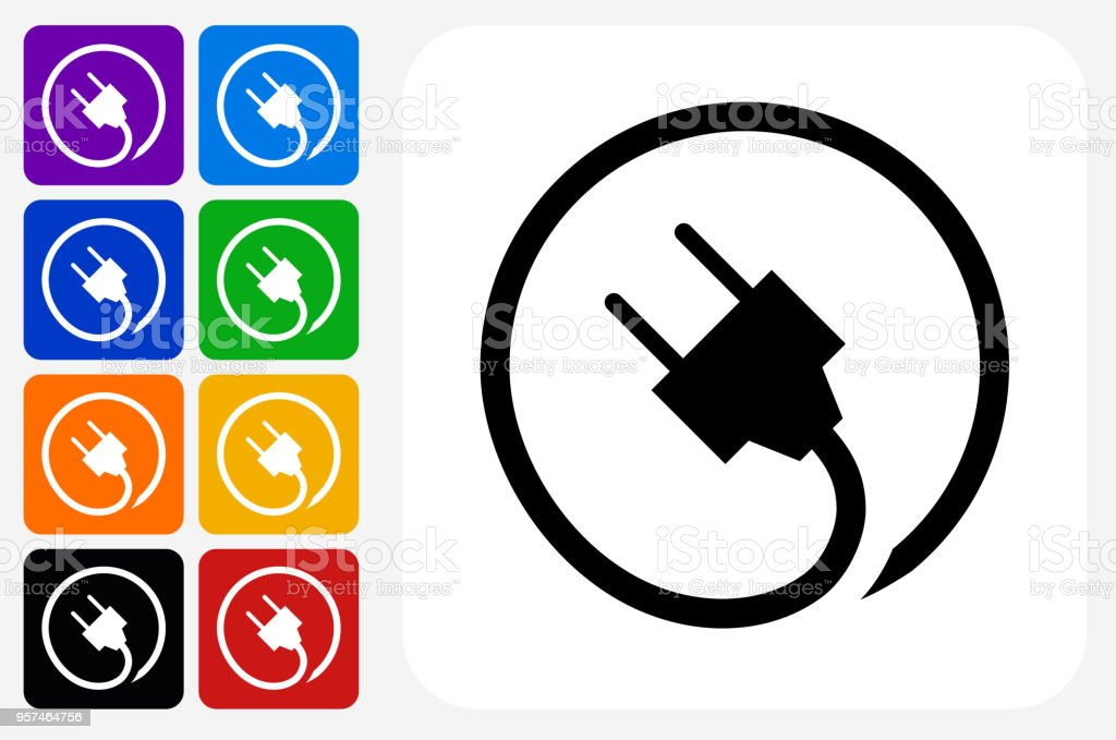 Plug Icon Square Button Set vector art illustration