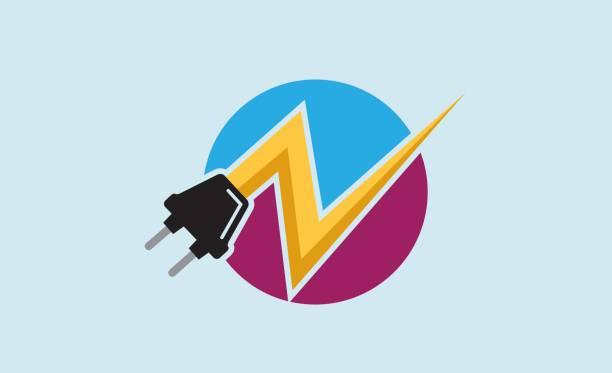 ilustrações, clipart, desenhos animados e ícones de design de símbolo de poder de plugue - eletricista
