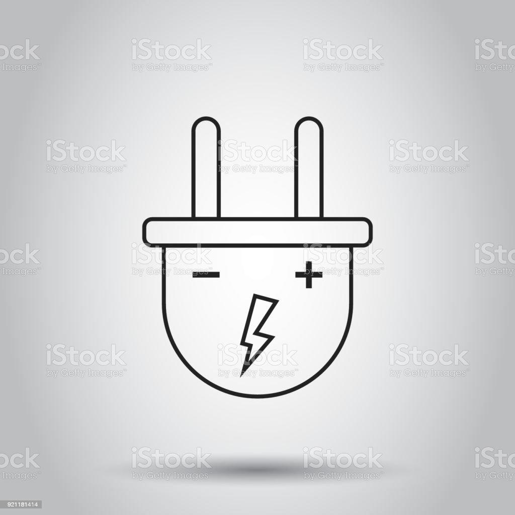 Stecker Buchse Symbol Linienart Vektorillustration Auf Isolierte ...