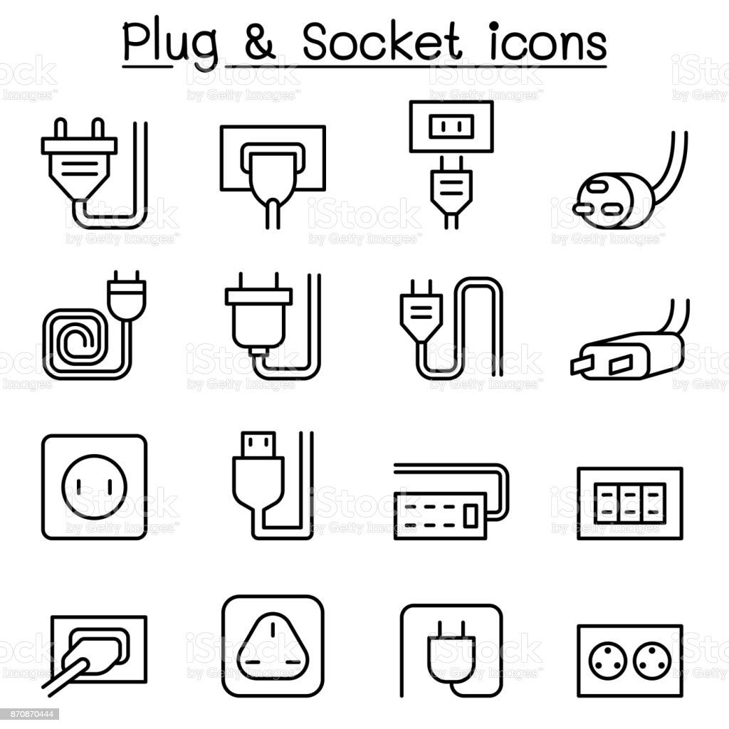Plug & Socket icon set in thin line style royalty-free plug socket icon set in thin line style stock illustration - download image now