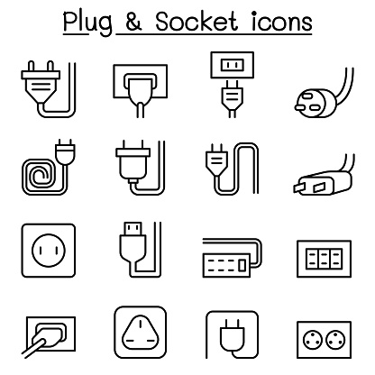 Plug Socket Icon Set In Thin Line Style Stock Illustration - Download Image Now