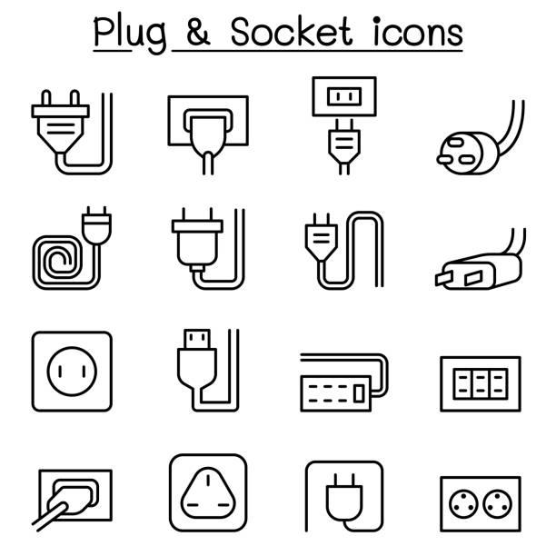 illustrations, cliparts, dessins animés et icônes de jeu d'icônes & prise dans le style de ligne fine - rallonge électrique
