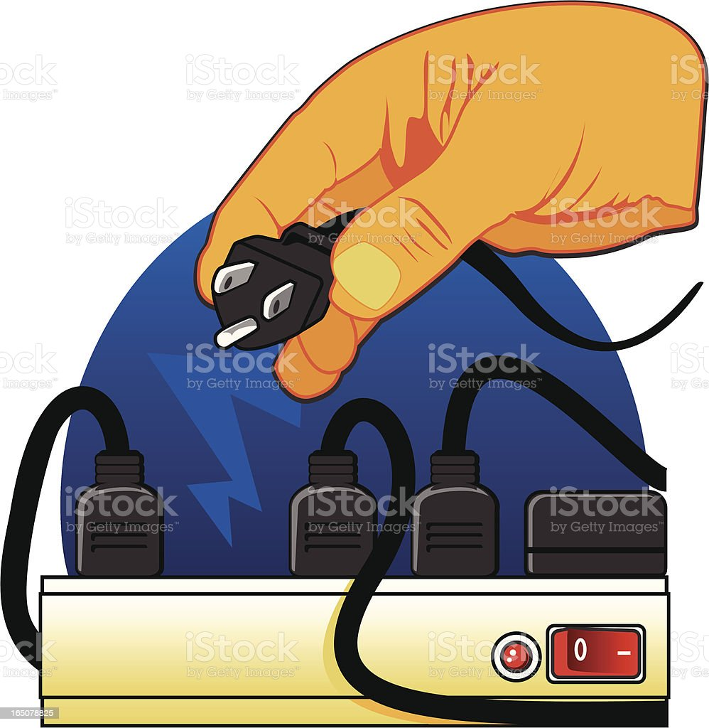 Plugging Into Power Strip royalty-free stock vector art