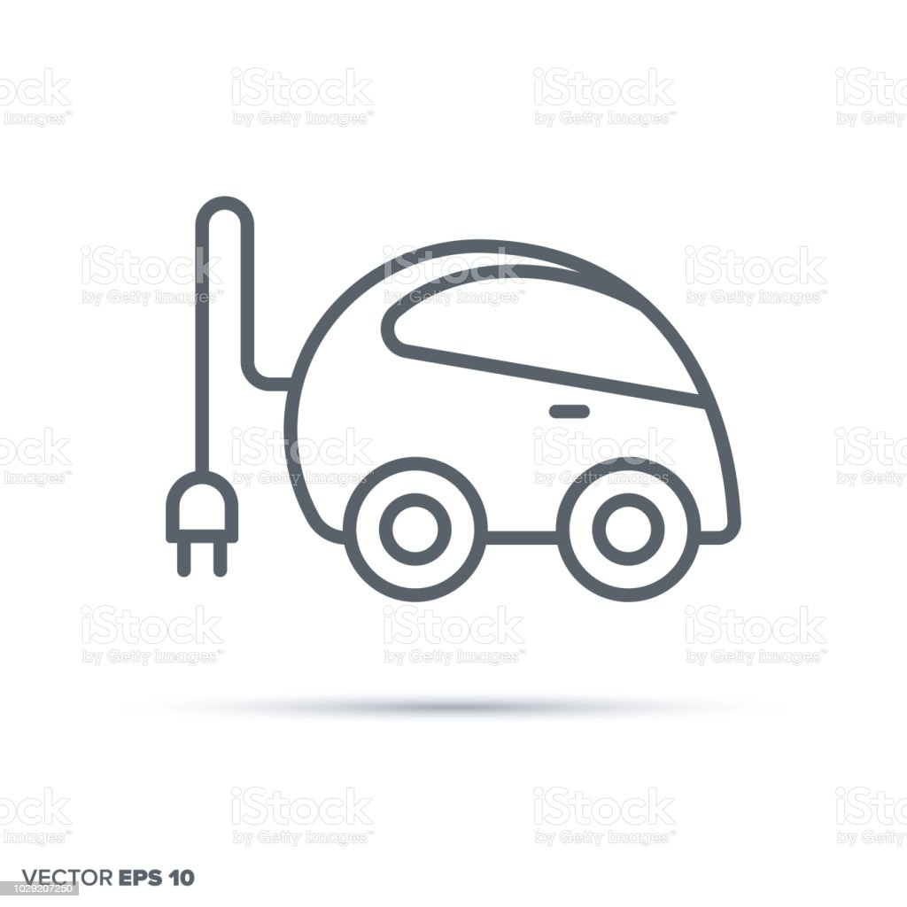 Plug-in electric compact car vector line icon. vector art illustration