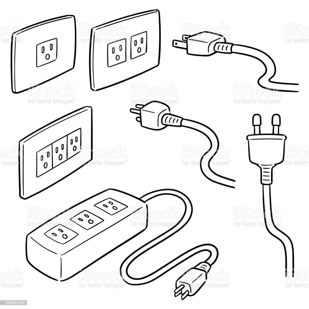 plugs vector art illustration