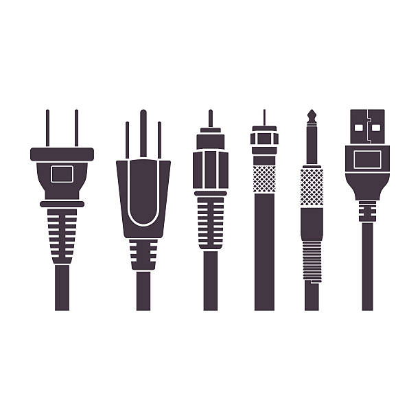 Plugs vector illustration set collection Different abstract plugs,vector illustration set collection, isolated white background cable tv stock illustrations