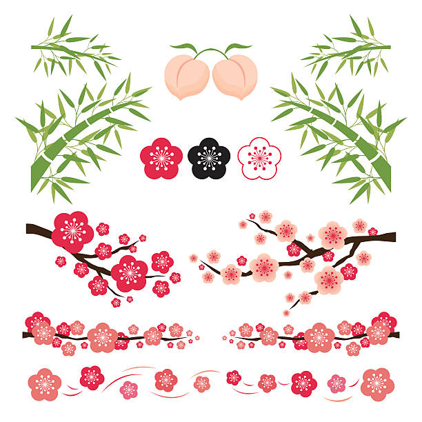 Plum Blossom and Bamboo Ornament National Flower of the Republic of China plum blossom stock illustrations