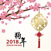 Celebrate the Chinese New Year in the year of the Dog 2018 with plum blossom and dog's pendant on the background, the Chinese calligraphy means Year of the Dogs