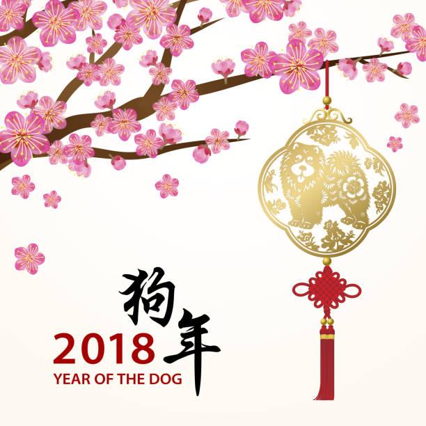 illustrations, cliparts, dessins animés et icônes de fleur de prunier pour l'année du chien - nouvel an chinois