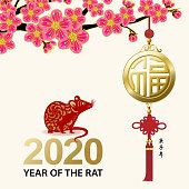 Greeting for the Chinese New Year of the Rat 2020 with paper art rat and gold colored good luck pendant hanging on plum blossom tree, the vertical Chinese phrase means Year of the Pig