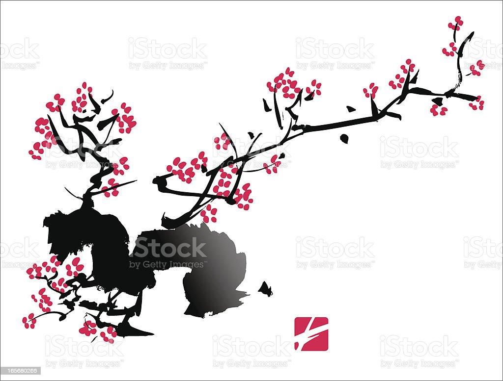 Plum Blossom Painting royalty-free stock vector art