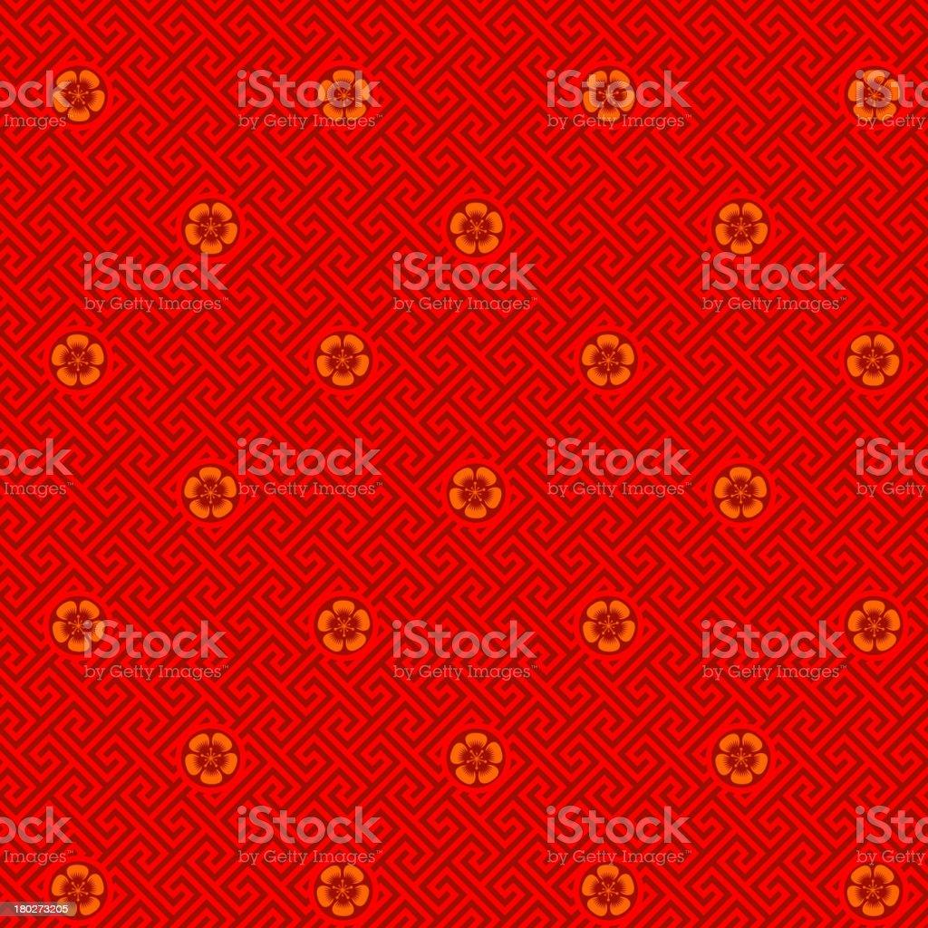 Plum Blossom Seamless Pattern vector art illustration