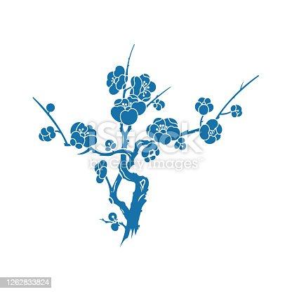 istock Plum blossom(China paper-cut patterns) 1262833824
