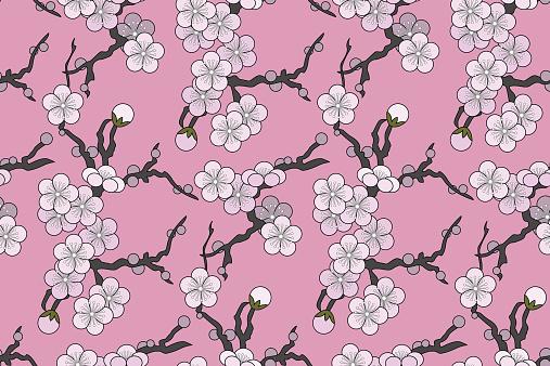 Plum blossom (Seamless pattern kimono style)