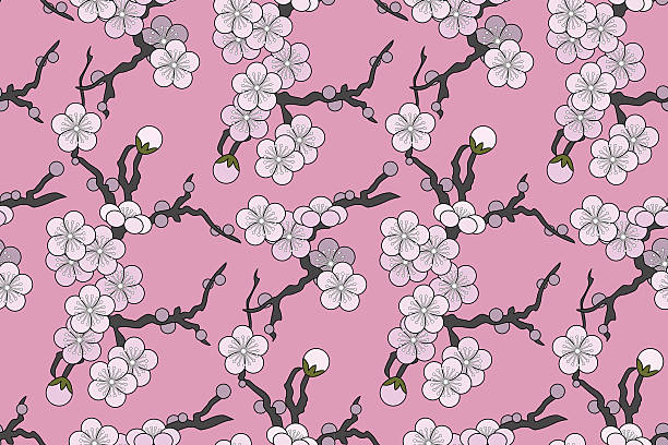 "Plum blossom (Seamless pattern kimono style) Vector illustration of seamless, Japanese textile design with plum or cherry blossoms on a pink background in a ""silk kimono-style"". plum blossom stock illustrations"