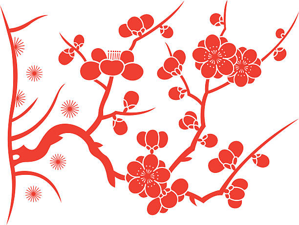 Plum blossom Plum blossom,after the abstraction and artistic processing.Because of the shape is similar (5 petals),they can also be used as peach petals and cherry blossom petals.(This editable vector file contains eps10 and No less than 5000×5000 pixels,300dpi jpeg formats.) peach blossom stock illustrations