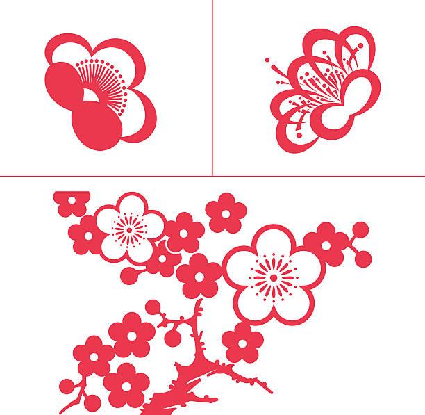 Plum blossom Plum blossom peach blossom stock illustrations