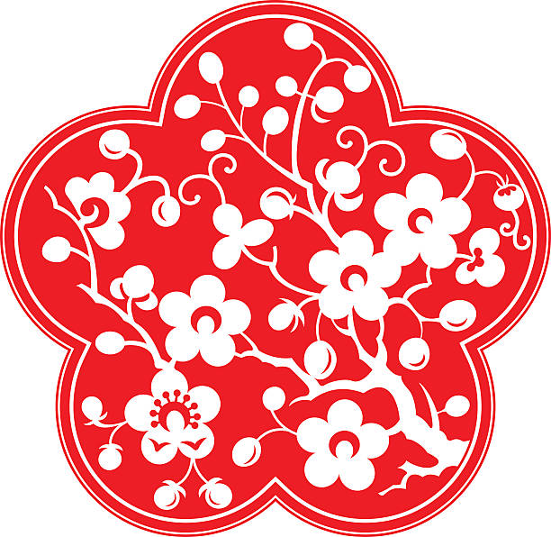 Plum blossom,China paper-cut art Plum blossom,after the abstraction and artistic processing.Because of the shape is similar (5 petals),they can also be used as peach petals and cherry blossom petals. peach blossom stock illustrations