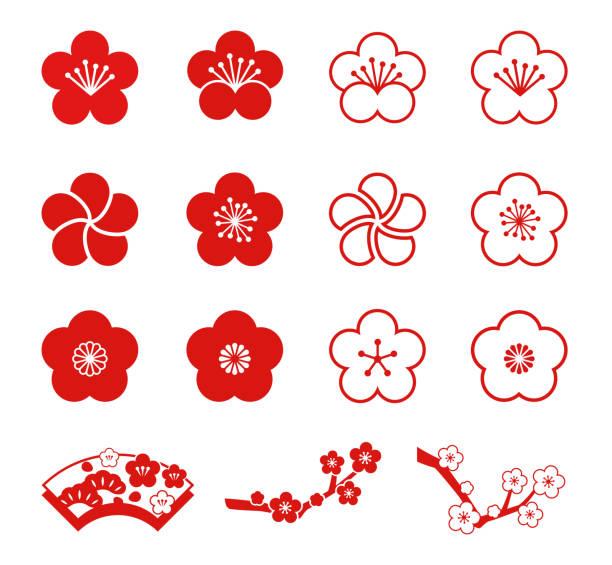 Plum blossoms icon set(monochromatic) Plum blossoms icon set(monochromatic) plum blossom stock illustrations