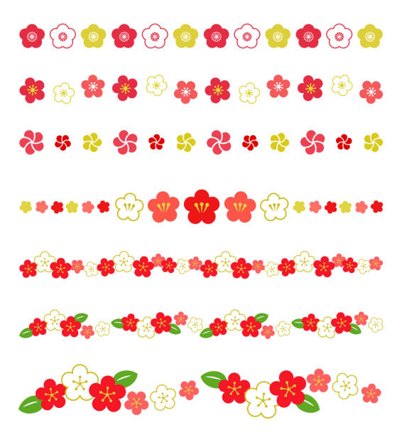 Plum Decoration line Set Plum Decoration line Set plum blossom stock illustrations