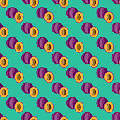 A seamless pattern created from a single flat design icon, which can be tiled on all sides. File is built in the CMYK color space for optimal printing and can easily be converted to RGB. No gradients or transparencies used, the shapes have been placed into a clipping mask.