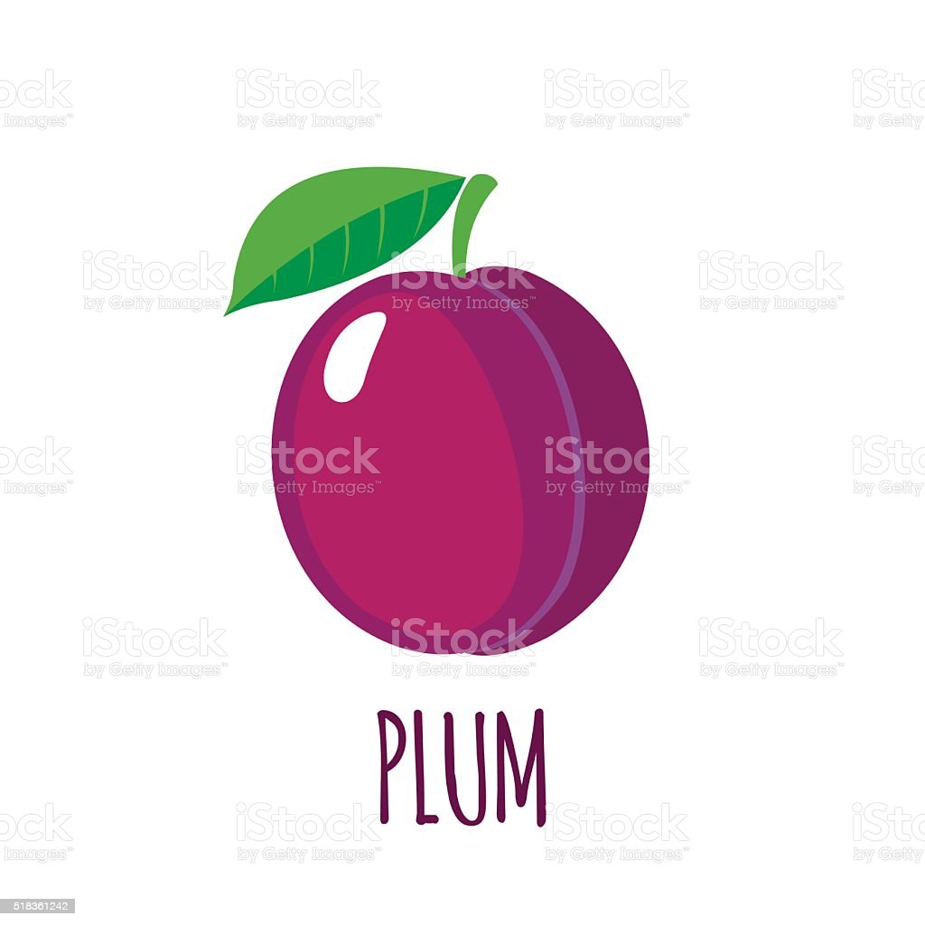 Plum icon in flat style on white background vector art illustration