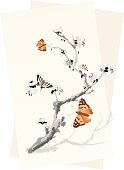 plum tree and butterflies