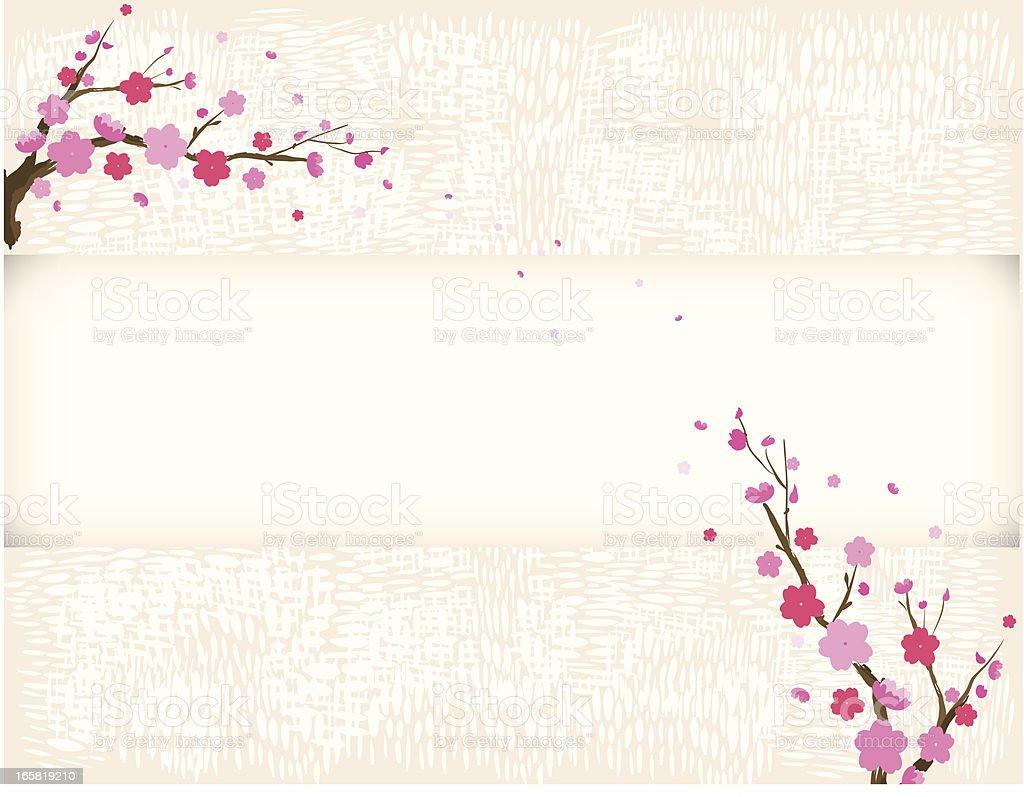 plum tree bloom in spring vector art illustration