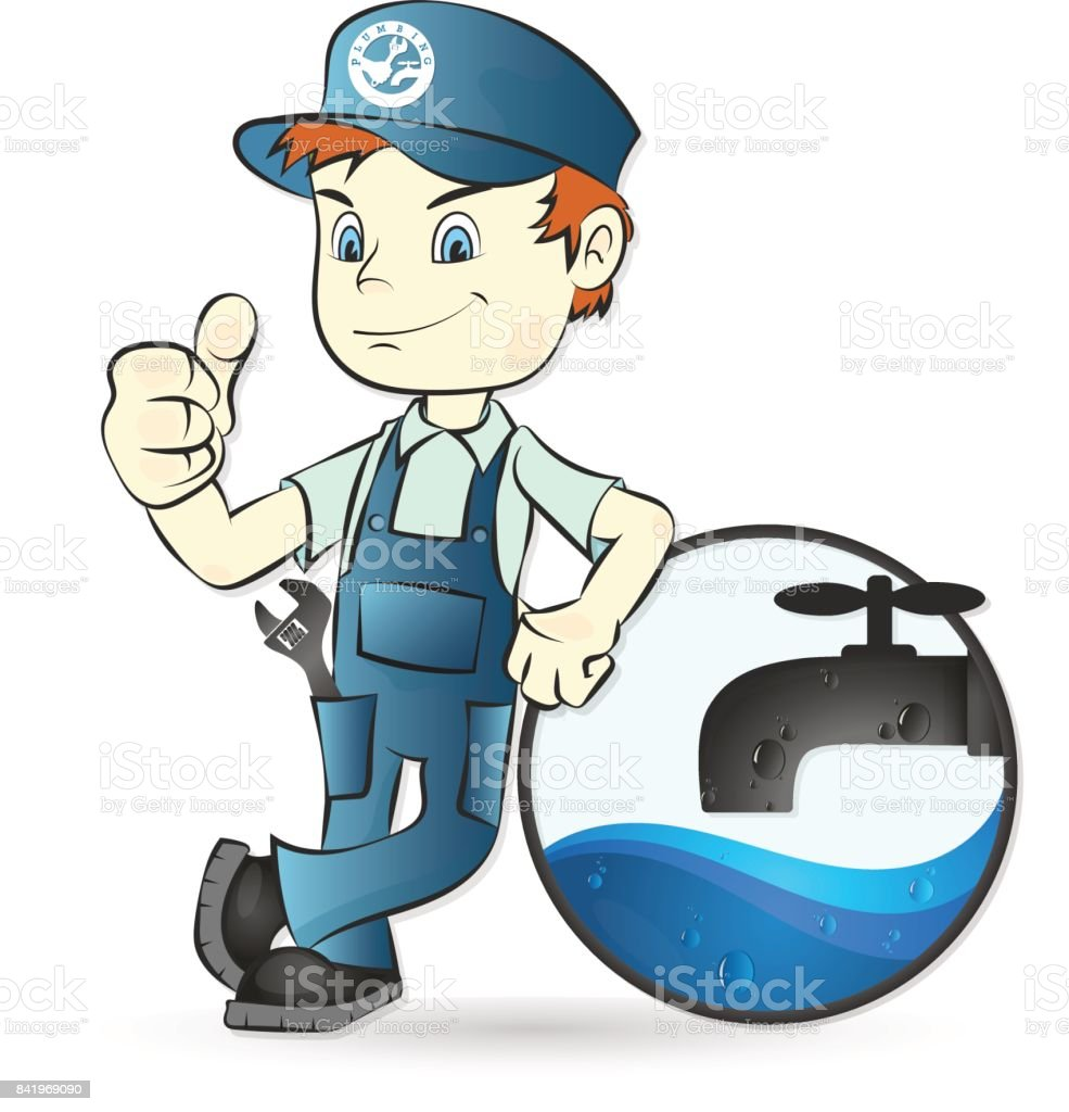 Plumber And Faucet Illustration Stock Vector Art & More Images of ...