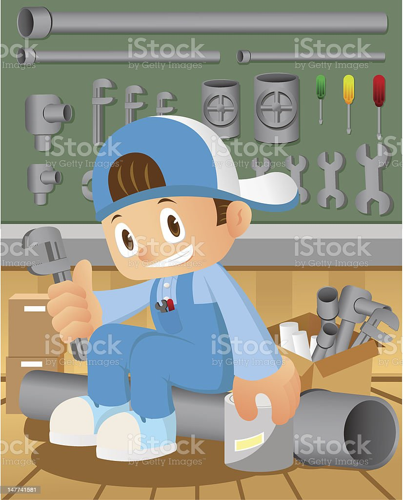 Plumber and Tools royalty-free stock vector art
