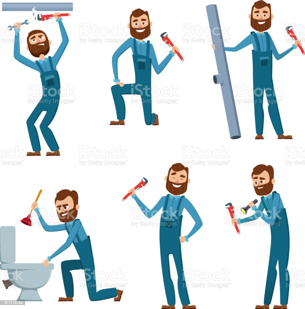 Plumber at work. Characters design set vector art illustration