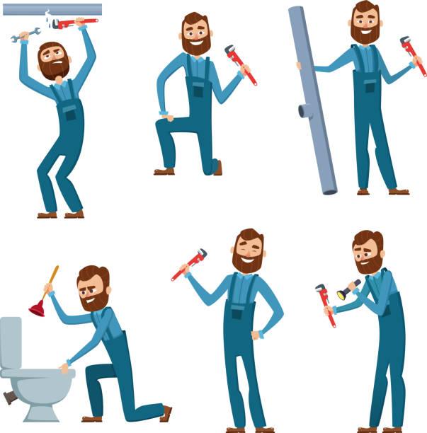 ilustraciones, imágenes clip art, dibujos animados e iconos de stock de plomero en el trabajo. conjunto de diseño de personajes - fontanero