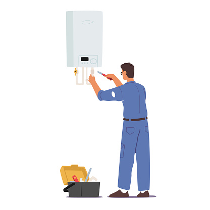 Plumber at Work Concept. Call Master Character in Robe Install Smart Heater. Husband for an Hour Repair Service, Worker