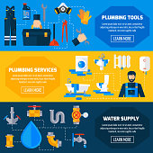 Plumbing sanitary repair installation maintenance and leakage fixing service information 3 flat horizontal banners set abstract vector illustration
