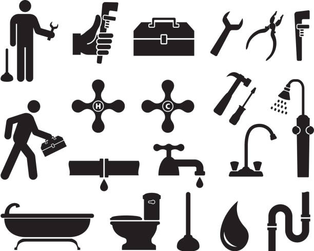 Plumber black and white royalty free vector icon set Plumber black and white icon set pipefitter illustrations stock illustrations