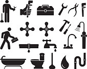 Plumber black and white royalty free vector icon set