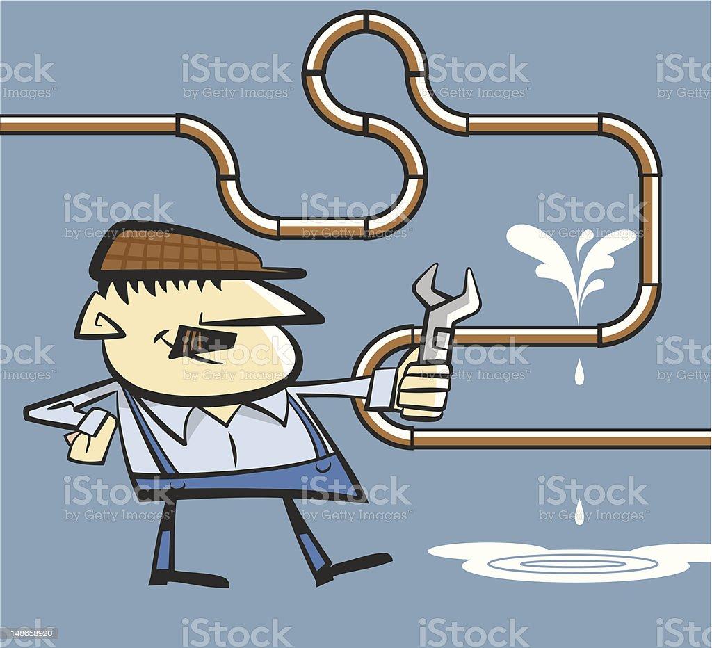 Plumber fixing a leak vector art illustration