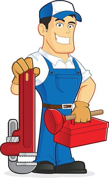 Klempner holding tools – Vektorgrafik