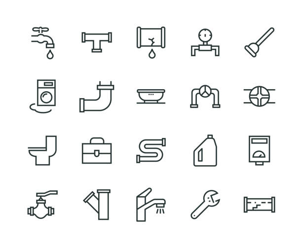plumber icon set - plumber stock illustrations, clip art, cartoons, & icons