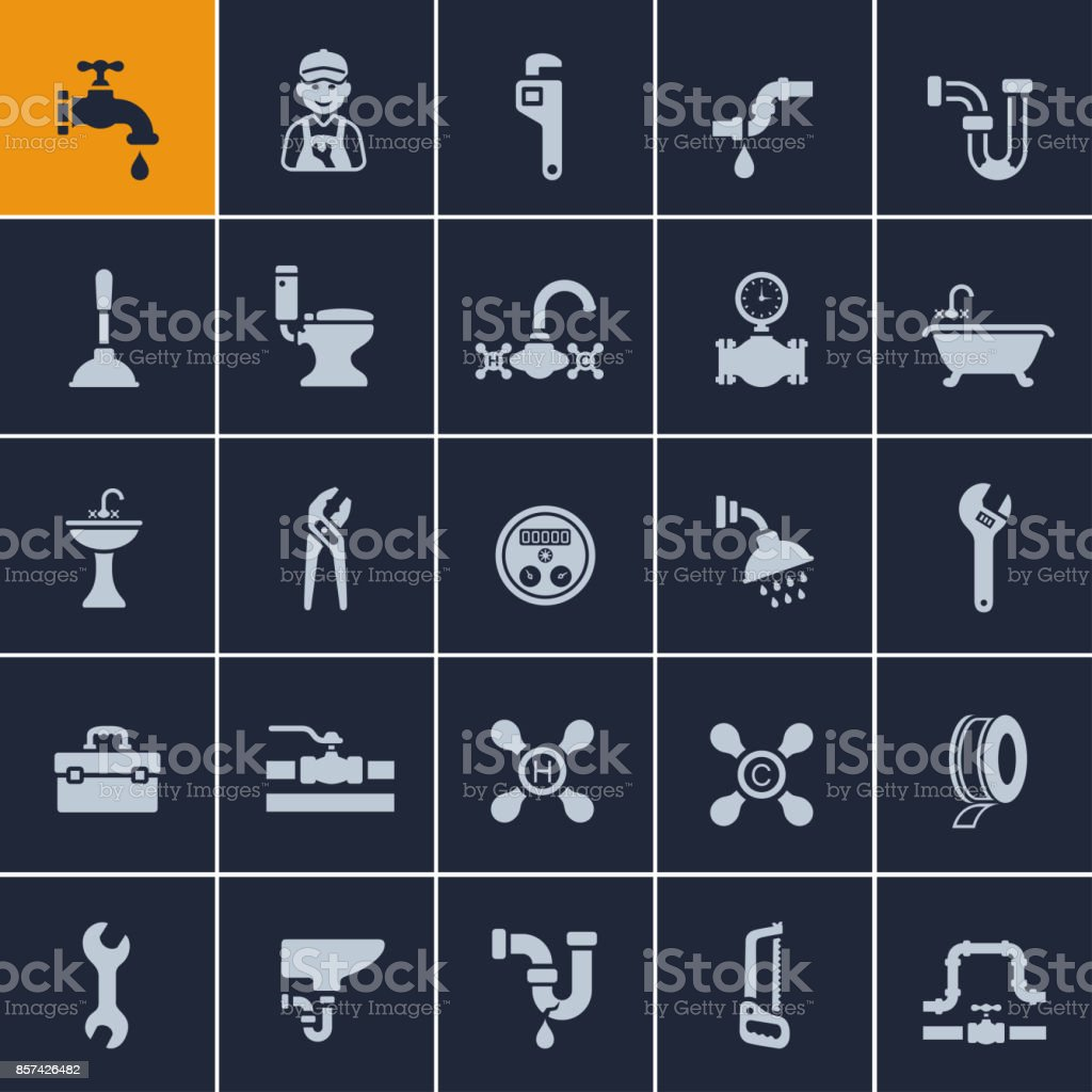 Plumber Icon Set vector art illustration