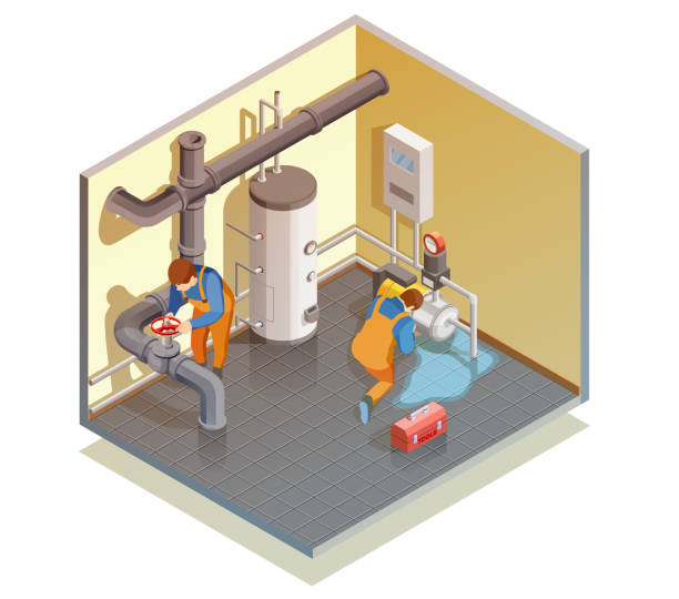 plumber isometric composition - basement stock illustrations