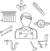 Plumber man and sanitary engineering