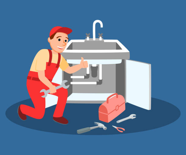 ilustrações, clipart, desenhos animados e ícones de encanador mestre com chave de fixação torneira da cozinha - encanador